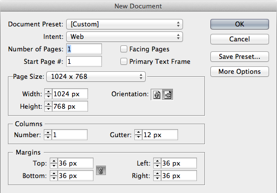 "Setting the ""New Document"" properties to ""Intent: Web"" enables you to create a new document with pixel dimensions."