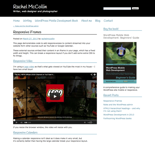 Responsive video as seen on the desktop (in the flow of the content, fitting nicely)
