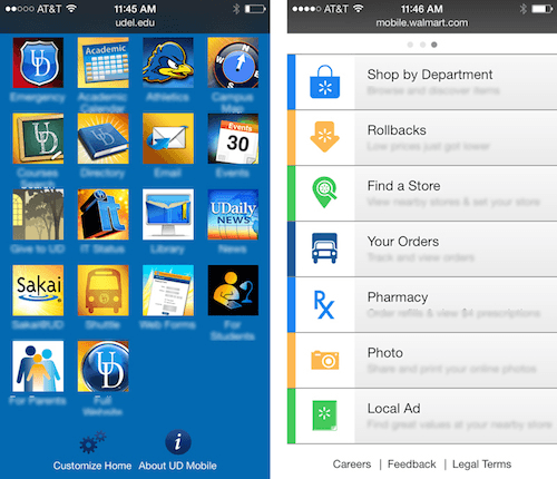 The University of Delaware uses mainly icons (left). Walmart emphasis on text labels.