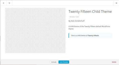 The WordPress child theme header
