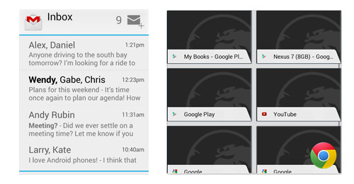 Gmail's widget offers a sneak peek into the mailbox and enables users to compose mail right from the home screen.