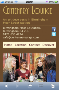 Centenary Lounge site on mobile