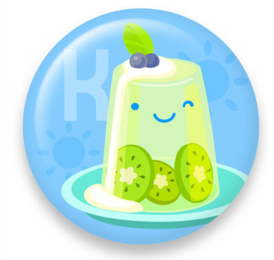 Pins, Badges and Buttons - Dessert K: Kiwi Jelly