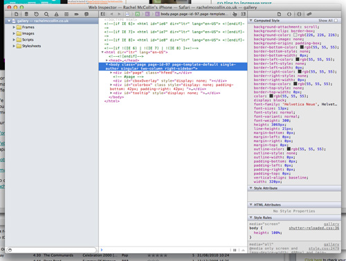 Web Inspector shows the code for the page you have open on your iOS device.