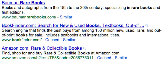 Screen grab of meta descriptions from a Google SERP.