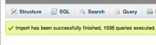 Confirmation message after importing a database.