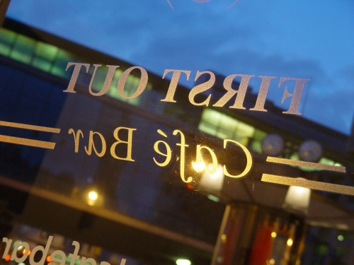 Wayfinding and Typographic Signs - first-out-cafe-london