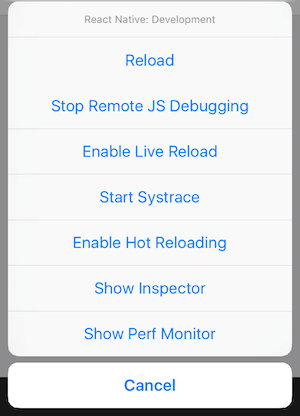 Screenshot of the React Native debugger
