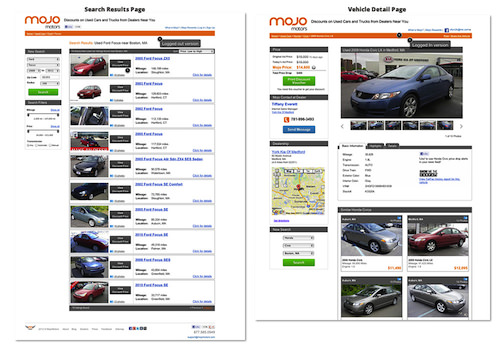 Mojo motors search and details page image