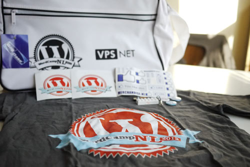 A photo of the WordCamp Netherlands swag