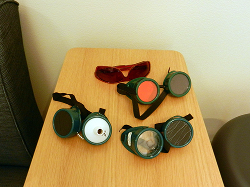 Some of the goggles used in the Accessibility Showcase