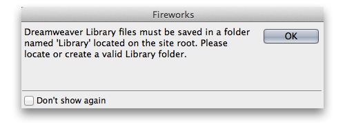 Warning dialog box in Fireworks, when saving in LBI file format