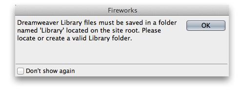 Warning dialog box in Fireworks, when saving in LBI file format