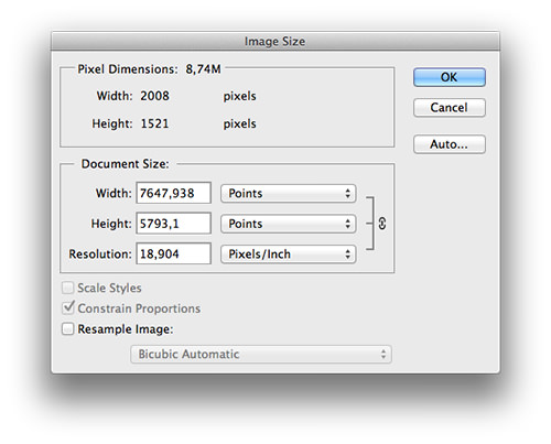 Adjusting the DPI in Photoshop.