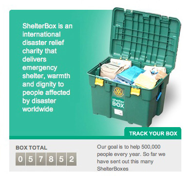 ShelterBox panel featuring box shot and box counter total