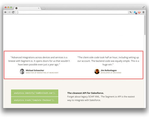 Our testimonials component in the footer of a web page.