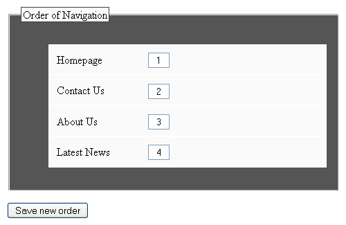 The second layer of the navigation form