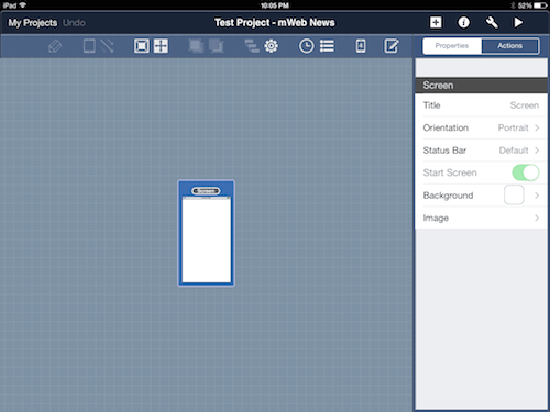 Drag the workspace in the site map view to see all of its contents as you add more screens.