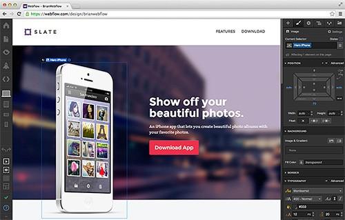 Webflow's designer