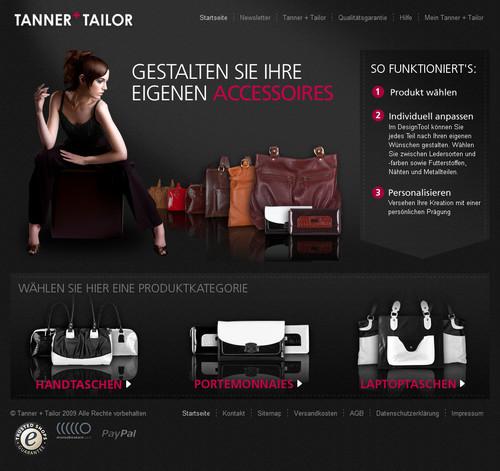 German Web Design - tanner + tailor - eigene accessoires gestalten