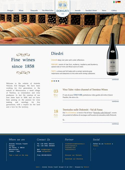 Screenshot of the Dorigati.it home page