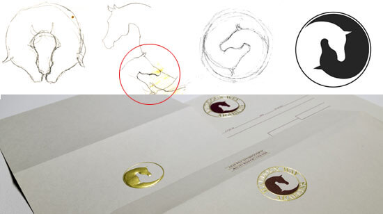 The original sketches for Maddoux-Wey Arabian Horse Farm show the process for the final design.