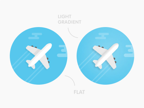 An airplane icon in both flat and light gradient versions included within the set.