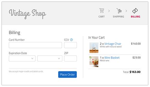 Mockup design of a billing page