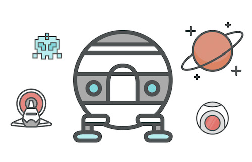 Space icons with a fun twist.