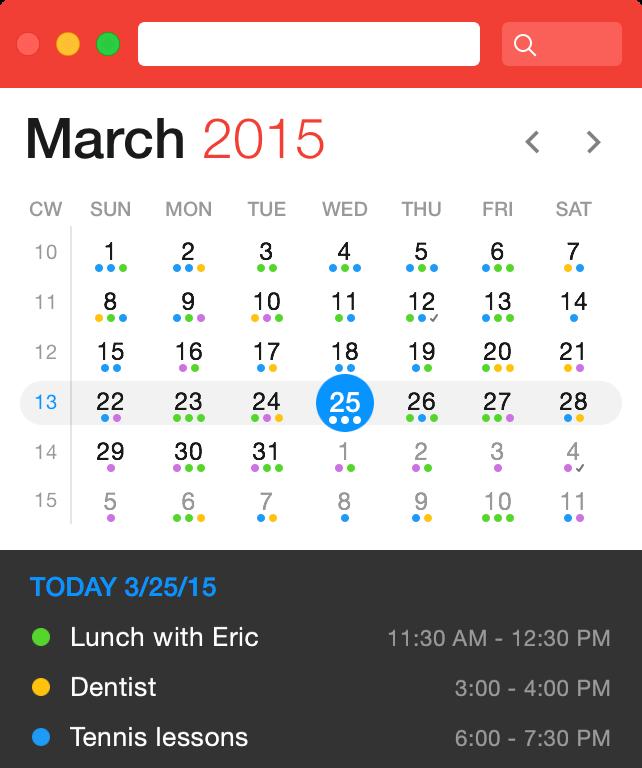 Fantastical calendar dots coding