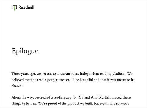 Readmill's epilogue