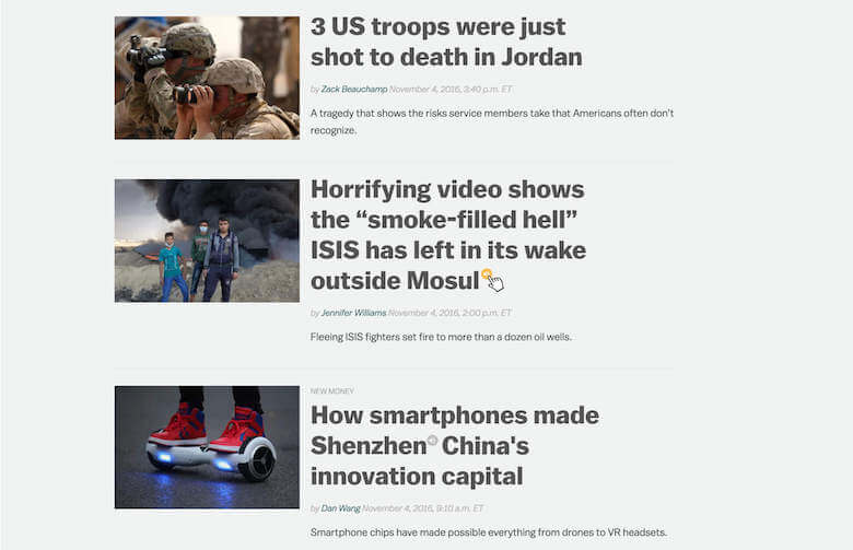 An example of how Vocalizer could be used by news publications, such as Vox.com.