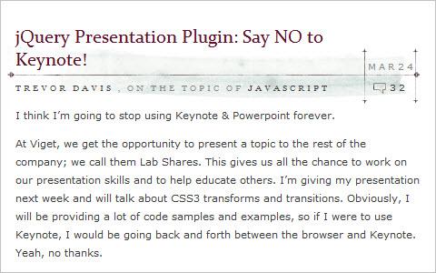jQuery Presentation Plugin