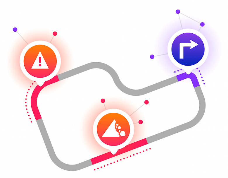 A racetrack with data points and icons representing the concept of data analysis.