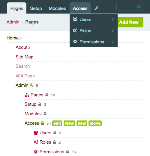 Screenshot that shows that even the back-end navigation is made out of pages.