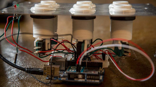 The build as it progressed and became powered by an Arduino Yun.