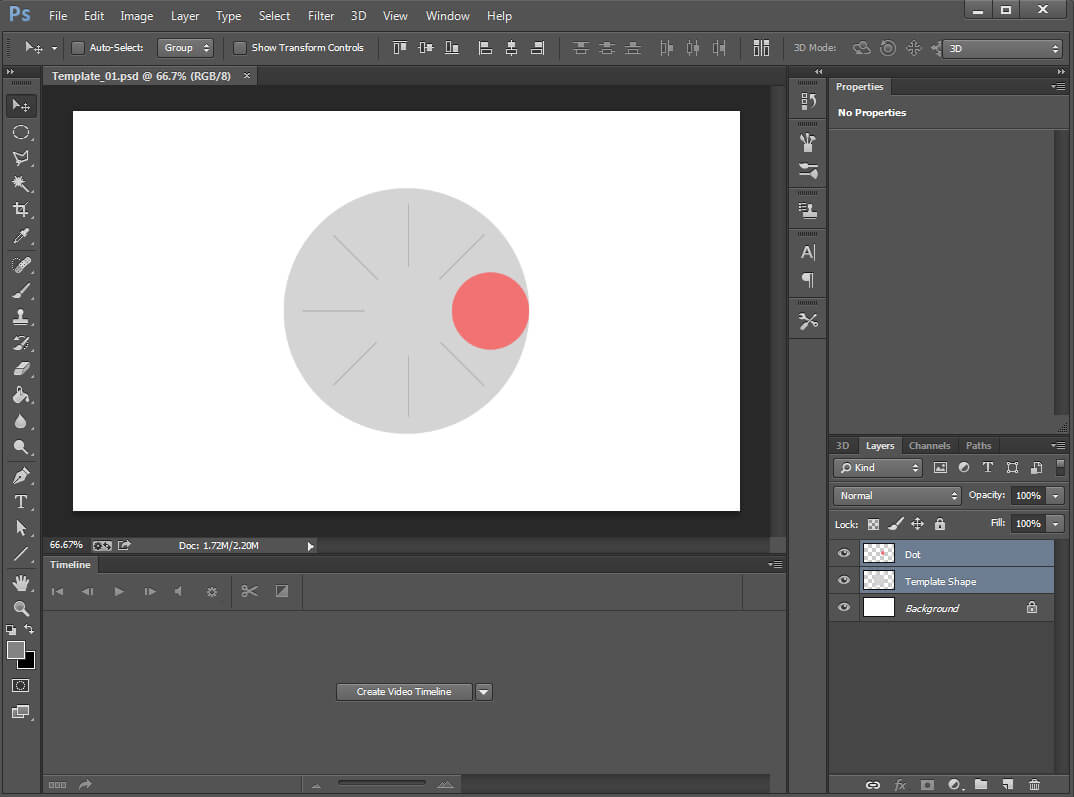 How to create an advanced photoshop animation smashing magazine scene consisting of two layers a red dot and large gray circle baditri Gallery