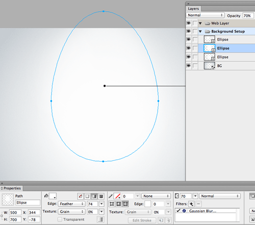 Ellipse vector shape added (then edited) to the center of the canvas.