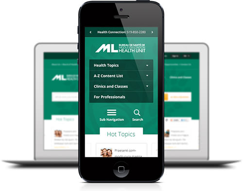 MLHU website on mobile