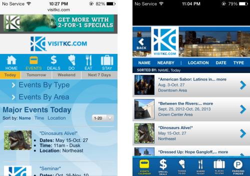 Visit KC - site vs app