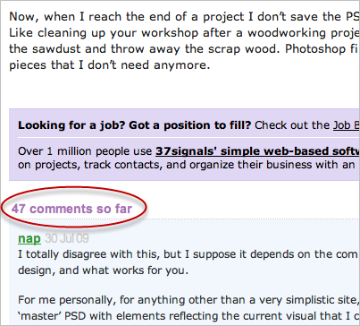 A screenshot of the 37Signals blog showing a large number of comments
