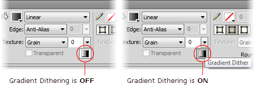 The Property Inspector Panel in Fireworks CS5 - Gradient Dither options