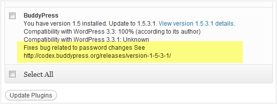 buddypress upgrade notice for 1.5.3