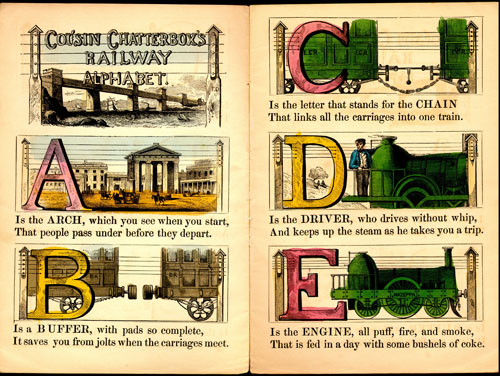 Cousin Chatterbox's Railway Alphabet, 1854.