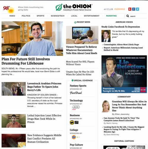 Screenshot of The Onion