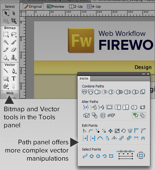 Fireworks offers bitmap and vector editing tools all without having to leave a single application