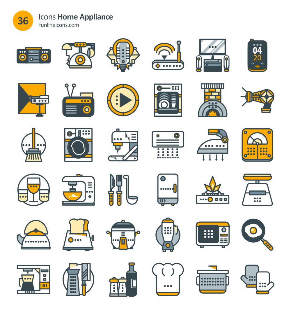 real estate home appliance icon set