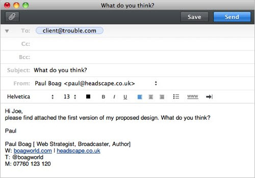 Imaginary email asking the client to common on a design
