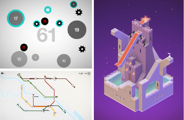 Screenshots of Hundreds, Monument Valley, and Mini Metro.