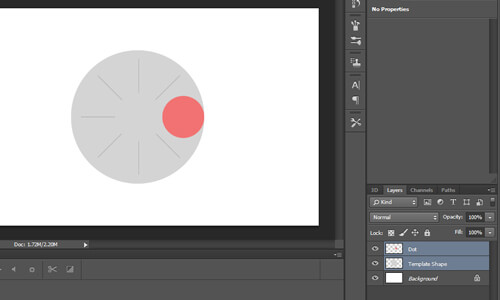 Scene consisting of two layers, a red dot and large, gray circle.